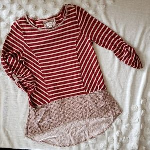 Anthropologie Postmark Red & White Layered Top M